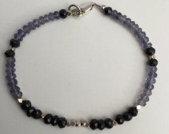 Iolite and Black Spinel Beaded Bracelet, Sterling Silver Bracelet, Semiprecious Stone Bracelet, Beaded Bracelet, Minimalist Jewelry