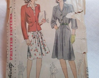 "Antique 1940's Simplicity Pattern #4268 - size 34"" Bust"