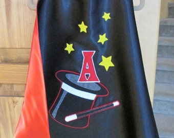 Childrens Magician Cape / Childrens Top Hat Cape /Custom Cape / Satin Cape / Kids Cape / Initial Cape