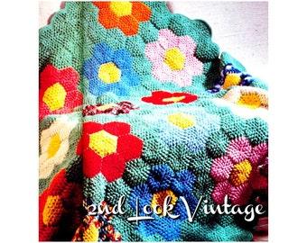 Vintage Crochet Pattern 1970s Mod Afghan Flower Garden Quilt Digital Download PDF