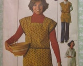Easy to Sew Misses Smock or Apron Size Small (8-10) Vintage 1970's Simplicity Pattern 7708 Cut/Complete