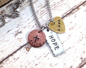Faith, Hope, Love Hand-Stamped Small Charm Necklace - Copper - Brass - Stainless Steel - Distressed - Stainless Steel Chain - Inspirational