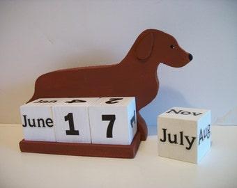 Dachsund Calendar Perpetual  Wood Block Calendar Brown