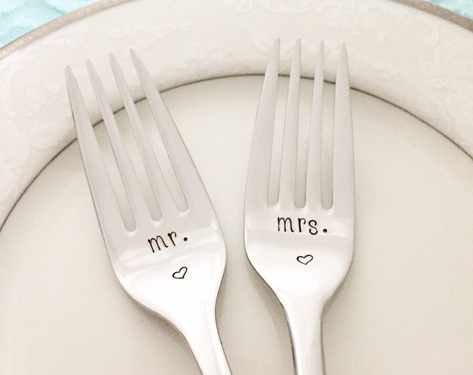 New Mr & Mrs forks with heart, hand stamped, stainless steel, sleek