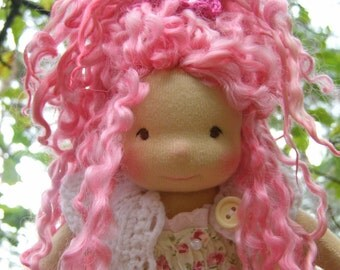 Sonya -Sitting style Waldorf Inspired Doll , 8 inch