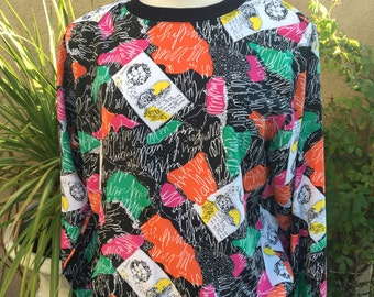 Vintage 1970s 1980s black Art Deco crew neck geometric print too shirt size S