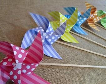 Paper Pinwheels Polka Dot Favors Birthday Party Favors Rainbow Polka Dot Pinwheels 12 Pinwheels Baby Shower Table Centerpiece Photo Prop