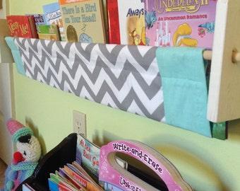 Chevron book sling -  Grey Chevron Zig Zag Turquoise teal blue Childrens' Kids book storage shelf gender neutral nursery decor