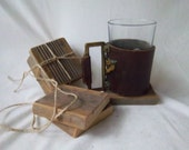 Reimagined Redesigned Outdoor Vintage Remake  Ridged Wood Coaster Set Fire Pit Accessary Set