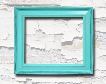 picture frames 8x10 chunky wood frame shabby chic turquoise or custom color distressed rustic home decor art