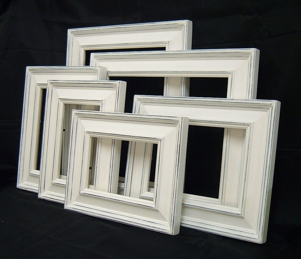 Picture frame set white picture frame shabby chic picture frames home decor rustic picture frame Home decoration photo frames