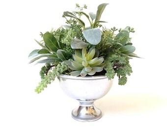 Faux succulent centerpiece, wedding centerpiece, artificial succulent, pedestal, succulent wedding, Christmas decor, floral arrangement,