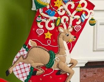 "Ornamental Deer 18"" Bucilla Christmas Stocking,  PERSONALIZED"