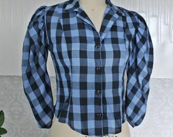Vtg 80's // Buffalo Plaid // FIRE // Gingham Check Puff-Sleeve Blouse