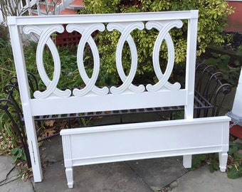 754. French Provinical Twin Size Headboard & Footboard Painted in White with Slight with Distressing on the edges
