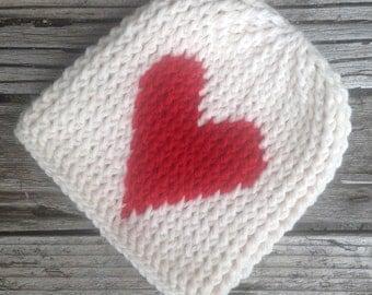 Crocheted Toddler Hat, Heart Beanie, Toddler Girl Hat, Toddler Boy Hat, Baby Hat, Childs Beanie, Red, Cream, Ridged Heart, Girl, Boy, Beanie