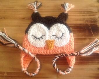 Crochet Baby Hat, Owl Hat, Baby Crochet Hat, Newborn OwlHat, Infant Owl Costume, Baby Costume, Newborn Photo Prop, Girl