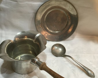 11.00 Pewter Bowl/Antique Pewter Set THREE Pieces Danish Quality USA Crown Hallmark By Gatormom13 Just REDUCED