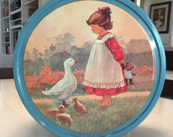 Vintage Tin Girl and Duck Danish Butter Cookies/ Large Tin Christa Kieffer/  By Gatormom13