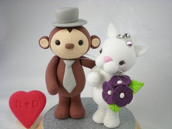CustomWedding Cake Toppe--Happy Monkey & White Cat Love with circle clear base