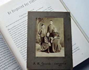 Antique Cabinet Card Portrait of Parents and 2 Children/Victorian Formal Family Portrait Photo