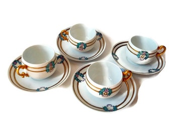 """Antique Signed Limoges Hand Painted """"T and V"""" Coffee Cups / Set of 4 Tea Cups and Saucers 1918"""