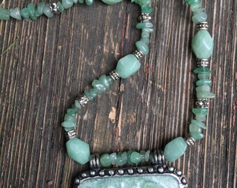 Semi Precious Aventurine Stone and Large Swirl Pendant