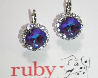 Swarovski cluster Ultra purple with clear crystal bezel silver formal earrings