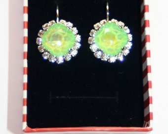 Swarovski cluster Ultra Lime ab clear crystal bezel silver formal earrings