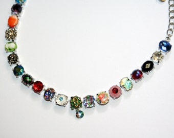 Vintage assorted glass crystal opal vitrail cameo designer Rhodium necklace