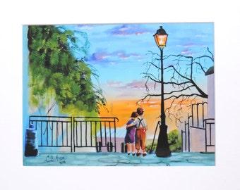 "Montmartre ""Young Love"" kids in Paris landscape mounted print Gordon Bruce"