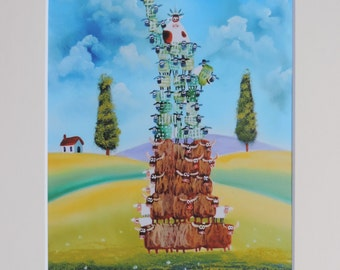 The Statue of liberty made out of sheep and cows signed mounted print Gordon Bruce new art