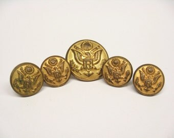 Vintage Military R Eagle Waterbury Buttons