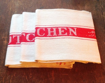 Vintage Irish Linen Tea Towels Dishtowels Kitchen Towels Vintage Kitchen Cloth Red and White Xmas Gift Christmas Gift Home Decor