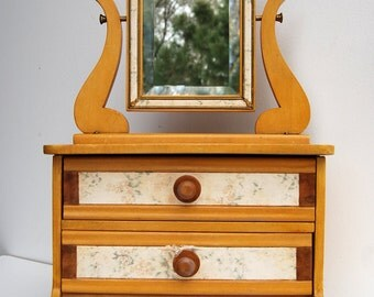 Vintage Jewelry Chest Box, Wood Dresser with Mirror, Doll Furniture