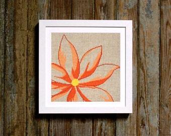 bold bloom - orange flower cross stitch pattern - diy - modern - pdf - instant download