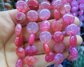 Rose Red dragon Veins Agate round coin beads 12mm- 31pcs/strand