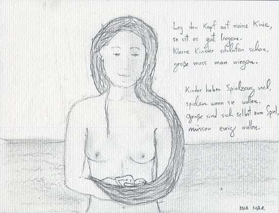 Nude woman cradling a man with her hair and poem in German. Original pencil drawing, signed