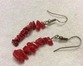 Sale 20 Genuine red coral chips drop dangle pierced earrings.