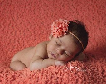 Peach headband, baby bow, peach bow, infant headband, newborn headband, peach flower headband, photo prop, peach flower, peach headband