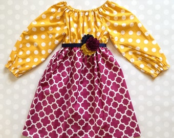 Mustard and Plum Girl's Fall Dress - Long Sleeve Dress - Baby Girl Dress - Girls Dresses - Fall Dresses