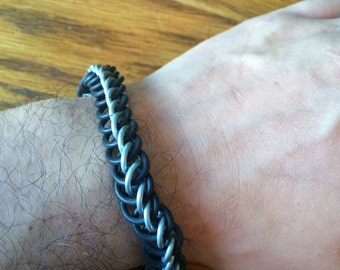 Black Chainmaille Hand Made Bracelet Rubber and Steel