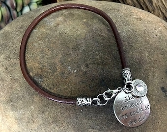 Bullet Bracelet / 38 Special Leather Bullet Charm Bracelet WIN-38-N-SBSC / She Believed She Could So She Did / 38 Special Bracelet / Leather
