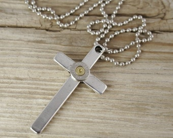 Bullet Necklace / Bullet Cross Necklace for Men WIN-223-NB-CNM / Cross Necklace / Men's Necklace / Custom Necklace / Cross Jewelry