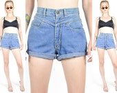 80's 90's GRUNGE Denim Shorts. High Waisted. Cut Off Shorts. 90's Grunge Jean Shorts. 70's Hippie Rocker Mod
