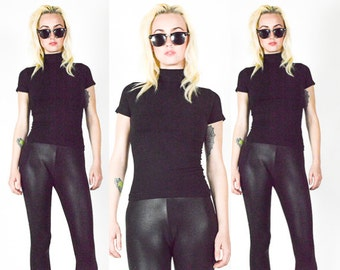 90's BLACK Turtle Neck Tank Top. 90's Clubkid Grunge Minmalist. 70's MOD Black Polo Neck. Size  S/M