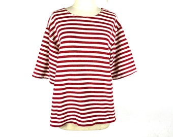 90's Red and White Oversized Cropped Striped T Shirt size - S/M