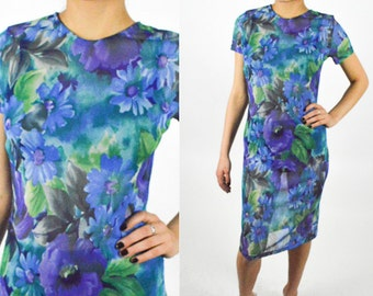 1990's FLORAL Blue and Green SHEER MESH Midi Dress. Short Sleeve. Floral Dress. 90's Grunge. Photographic Pattern