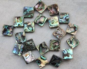 Full Strand Beautiful Natural Abalone Shell Diamond Beads Double Sided 20mm