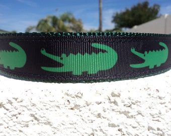 "Dog Collar Big Mouth Gator 3/4"" or 1"" width Quick Release buckle collar adjustable - upgrade to martingale w/link within"
